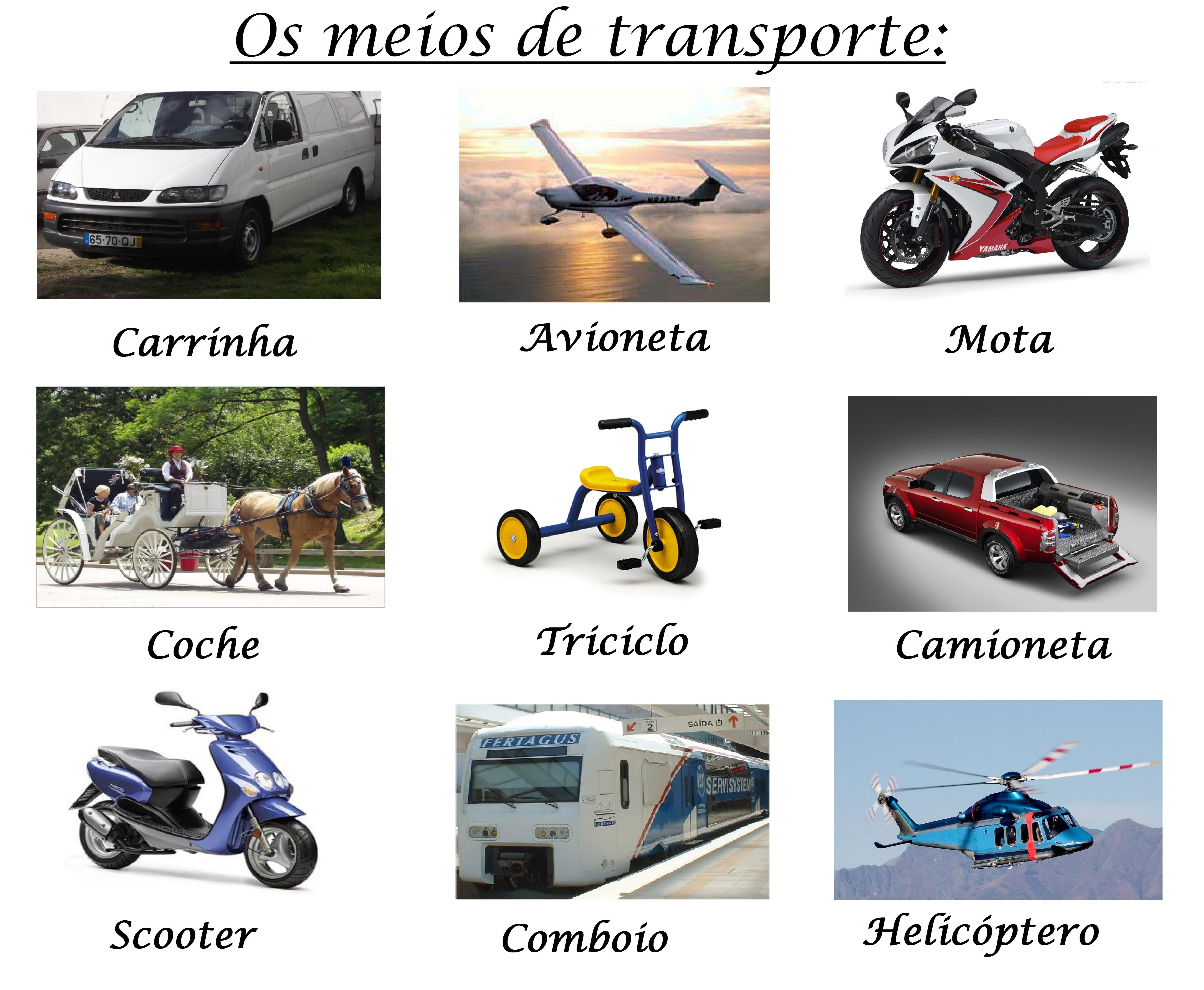 Os Meios De Transporte Aprende Portugues Em Huelva